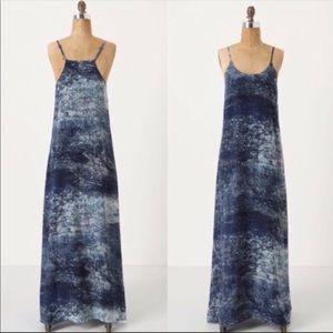 Anthropologie Dresses - Anthro Partimi 100% silk Blue Galaxy Maxi Dress 4